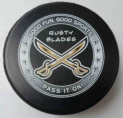 Refreshing And Beneficial To The Eyes Hockey-other Reliable Rusty Blades Hockey Club Swords Official Game Puck Made In Canada Lindsay Mfg