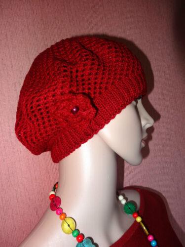 Béret Bonnet Chapeau en maille avec fleur sur le côté Très Féminin Hat Cap Beret