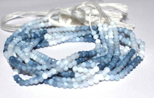 Natural Blue Opal Gemstone Rondelle Faceted 3.5 mm 12.5 Loose 1-10 Strand T544