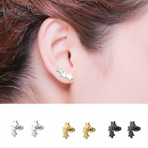 Fashion-Women-Men-Gothic-Punk-Stainless-Steel-3-Stars-Ear-Stud-Earrings-Gifts