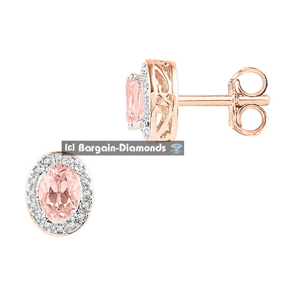 Diamond + morganite 1.36 carat 10K pink gold earrings anniversary Red Carpet