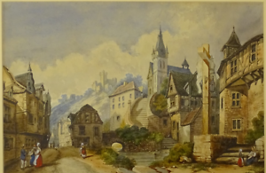 Old original painting watercolour Continental Alpine village scene old frame a/f