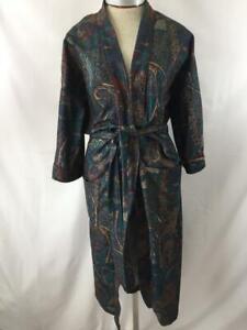 Manhattan-fleece-robe-one-size-S-M-L-XL-brown-blue-short-sleeve-2-pockets