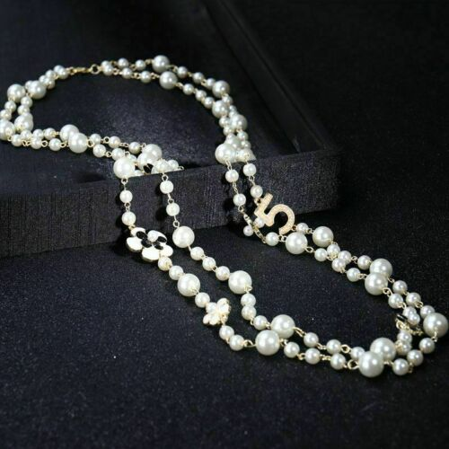 LONG Pendants PEARL NECKLACE For Women No 5,FLOWER COLLARS LAYER Party Jewelry