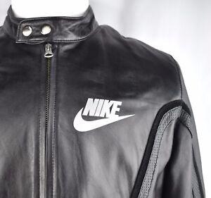 Involucrado Bóveda Gracias  Nike LIMITED ISSUE Black Leather Cafe Racer Bomber Jacket Jordan 72 Mens L  VTG | eBay