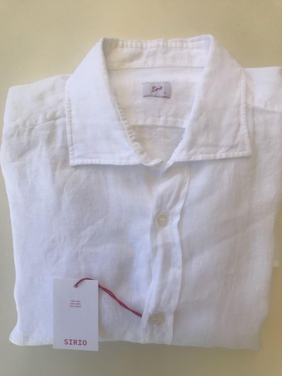 Sirio  Leinen Hemd Gr. L Weiß Kentkragen, sehr sehr sehr edel   Große Ausverkauf  84535d