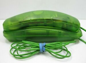 1980s-Conair-Phone-Telephone-Lime-Green-Transparent-Neon-Tested-and-Works