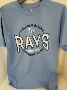 MLB Tampa Bay RAYS Baseball Light Blue Graphic T-shirt Sizes S,L NWT