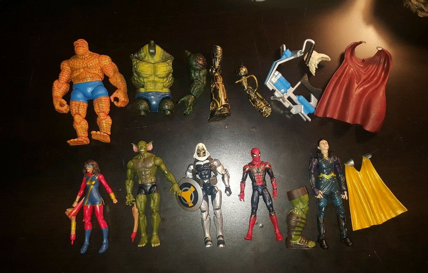 MARVEL LEGENDS FIGURES AND BAF PIECE LOT    Hulk, Loki, Spiderman