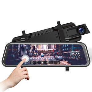 "TOGUARD 10"" Touch Screen Rear View Mirror Car Dash Cam Reversing Recorder Camera"