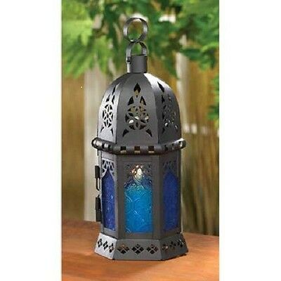 Ocean Blue Glass and Metal Morrocan-Style Candle Lantern