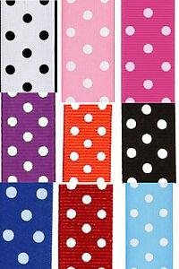 9 x 5 Yards Grosgrain Polka Dot Ribbon, (app. 10mm width), (pdgg)