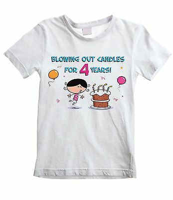 BLOWING OUT CANDLES FOR 4 YEARS GIRLS T-SHIRT - 4th Birthday Present Gift Party