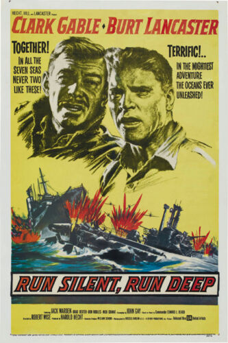 Run silent run deep Clark Gable cult movie poster print