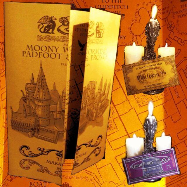 Harry Potter Gold Shimmer Paper Marauder's Marauders Map Replica Hogwarts + FREE