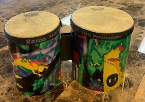 Bien Remo Rainforest Enfants Bongo Set Multi Coloré Décoratif Pre Owned-afficher Le Titre D'origine Dernier Style