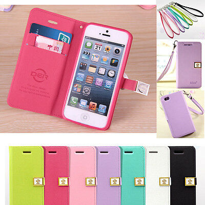 Ailun Flip Leather Credit Card Slot Cover Case Wallet + Strap For iphone Samsung