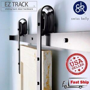ROLLER-ONLY-OFFER-Sliding-Barn-Door-Hardware-Black-amp-Brown-Coffee-Steel-Track