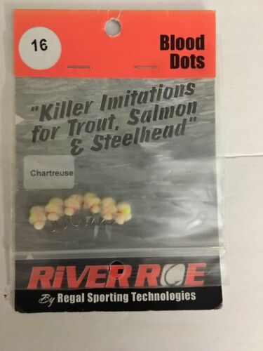 River Roe Blood Dots Size #16 Egg Chartreuse-#07-0400-16-RR6-RARE-SHIPS N 24 HRS