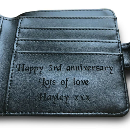 Mens Personalised Engraved Black Leather Wallet Valentines Day Gift Husband