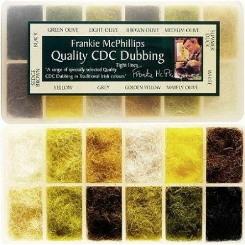 Fly Tying Dubbing, Frankie McPhillips CDC Doublage, 12 Couleurs, distributeur Box