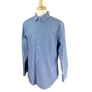 Banana-Republic-Homme-Coupe-Ajustee-non-fer-a-manches-longues-a-rayures-bleues-shirt-XL
