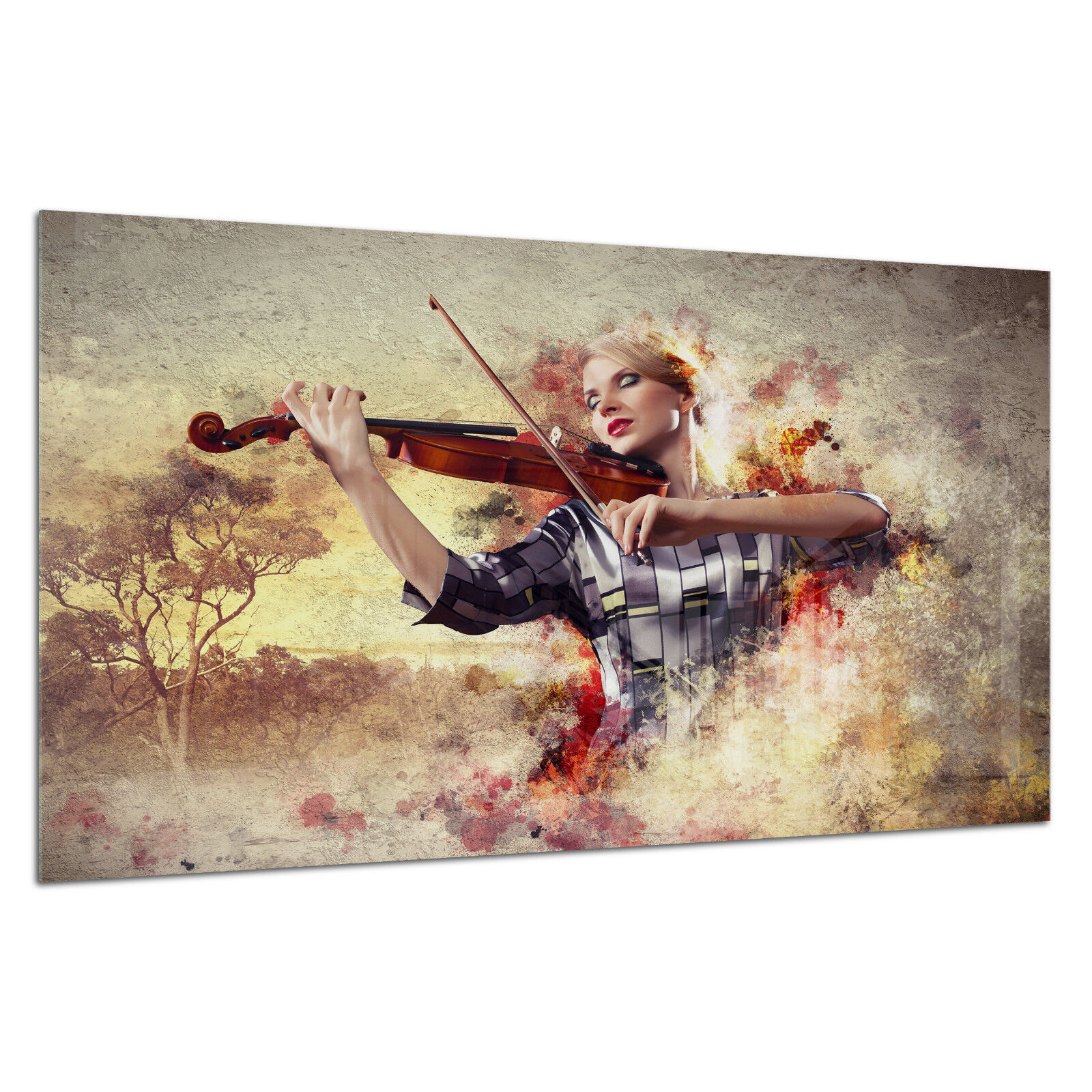 Verre Trempé femme Impression Photo Wall Art Photo femme Trempé musique violoniste Prizma GWA0325 614fa2