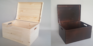 Storage Box Plain Wood Large Trunk Keepsake Souvenirs Wooden Boxes with Handles