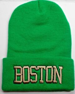 Boston-Celtics-Team-COLORS-on-3D-Direct-Embroidered-Beanie-Knit-Cap-hat
