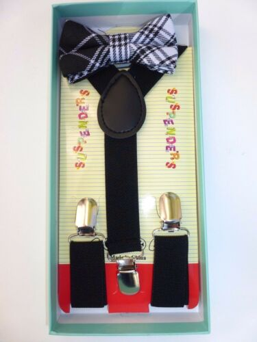 Baby Toddler Kids Child Plaid Tartan Black Suspenders Bow Tie Gift Box Set