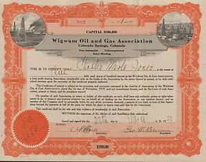 Details about USA WIGWAM OIL & GAS ASSOCIATION stock certificate 1920