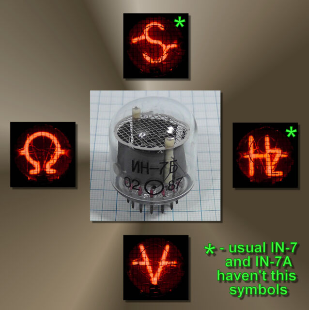 USSR Nixie Neon indicator of symbols IN7B IN-7B ИН-7Б NEW NOS TESTED 1pc.or more