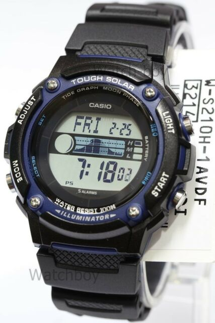 W-S210H-1A Casio Watch Tough Solar Tide graph Moon Phase Digital WS-210H-1A
