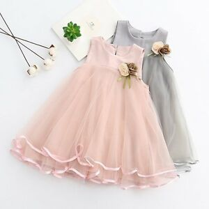 Toddler-Kids-Baby-Princess-Flower-Girl-Pageant-Wedding-Party-Tulle-Tutu-Dresses
