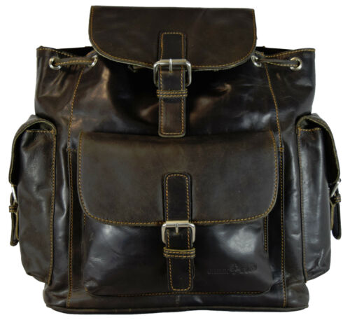 Greenwood de cuero vintage mochila Daypack señora caballero-marrón 35x32x13 cm 001