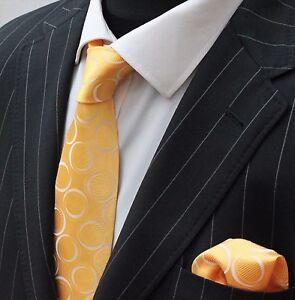 Hommes Cravate & Mouchoir Set Jaune Avec Cercle Blanc Luc246-afficher Le Titre D'origine MatéRiaux De Choix