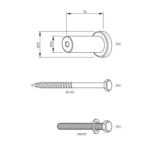 Set Mattschwarze Abstandshalter 5cm für schwarze Schiebetürsysteme aus Stahl