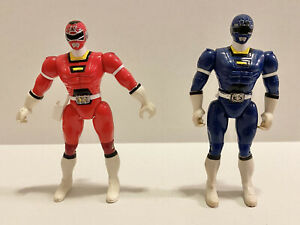 Vintage 1997 Mighty Morphin Power Rangers Turbo Red & Blue Rangers Action Figure