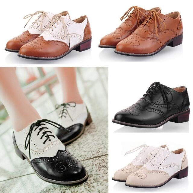 Womens New Shoes Lace Up Brogues Girls College Vintage Oxford Low Flat Heels