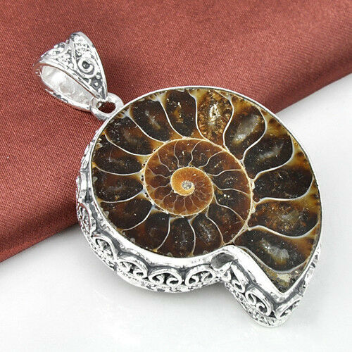 HUGE ! Classic Vintage Natural Ammonite Fossil Gemstone Silver Necklace Pendant