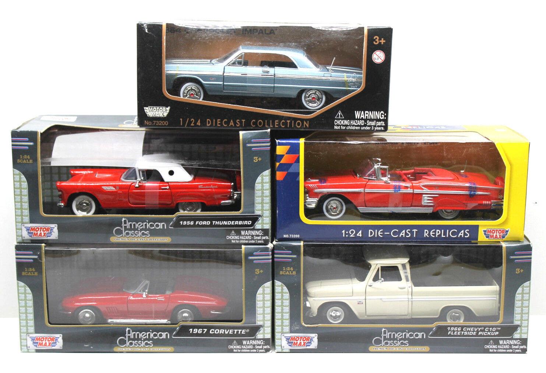 5pc Motormax 1 24 Diecast Americano Clásico Coches Corvette + T-Bird + Chevy C10 PU + Impala