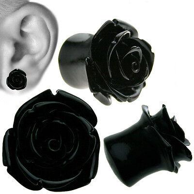 BLACK RESIN HYBRID TEA ROSE Ear  Plug / Gauge Sold in Pairs
