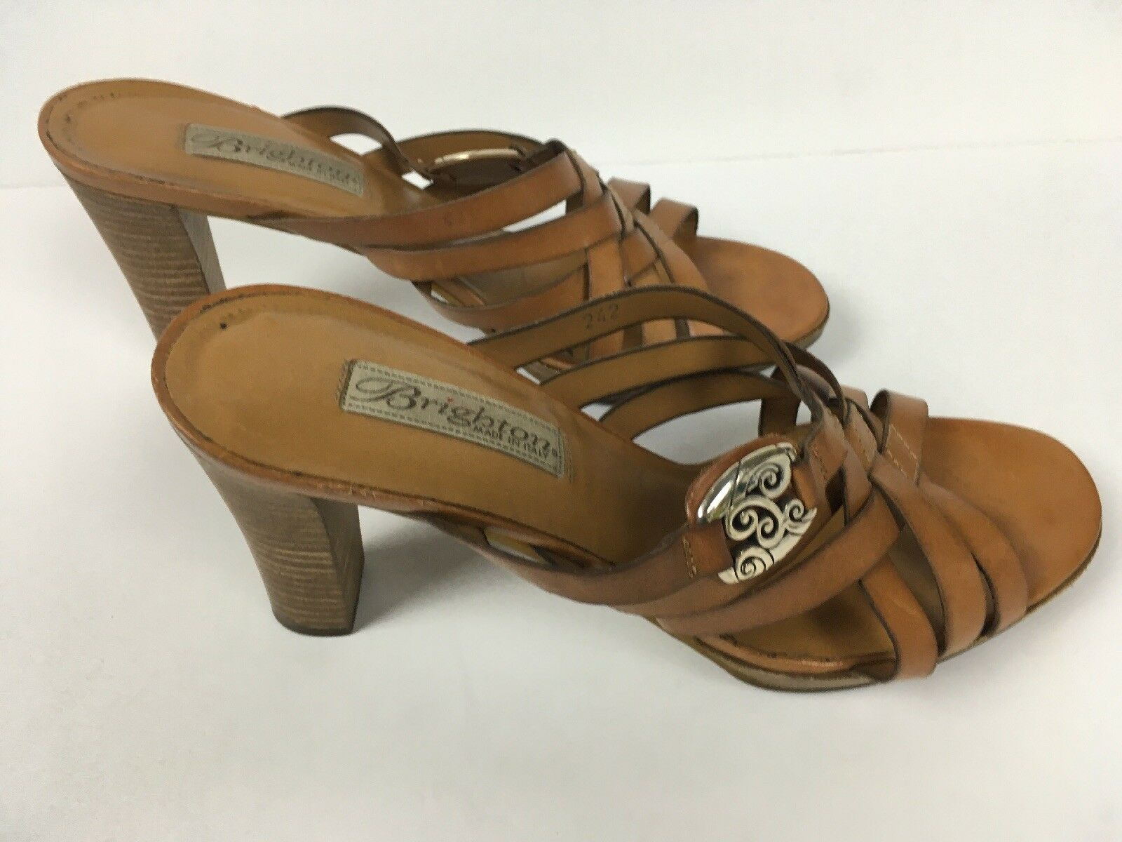 Brighton Mujer Marrón Cuero Tostado vista se Desliza Sandalias Tacones Zapatos M