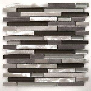 Silver Gray Aluminum Metal & Metallic Glass Mosaic Liner ...