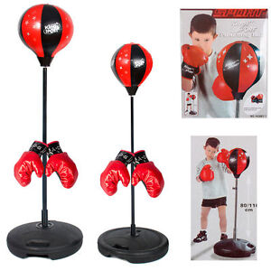Kids Punch Bag Ball Boxing Training Gloves Mitts Kit Free Standing Fitness Fun