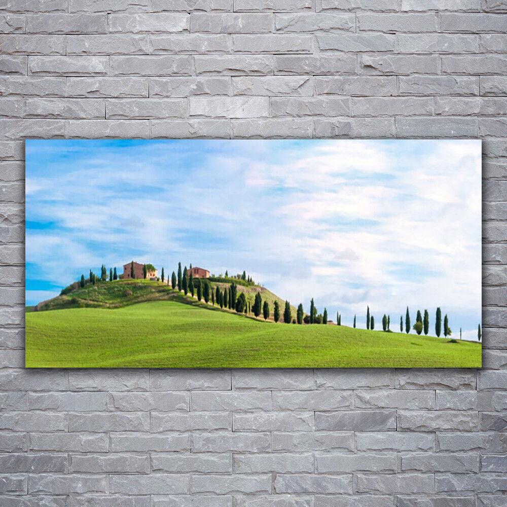 Photo sur toile Tableau Image Impression 120x60 Paysage Arbres Prairie