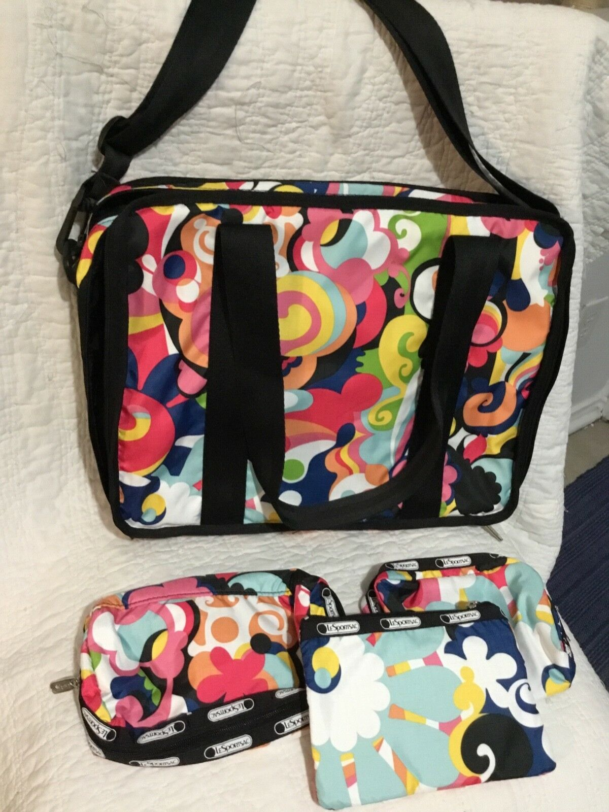 LeSportSac Floral Print Carry All With 3 Smaller Bags