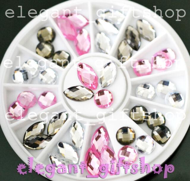 #ER42  Nail Art Decoration Oval Round Black White Pink Glitter Resin Rhinestone