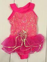 Art Stone Competitor Girls Xsmall Hot Pink Dance Costume