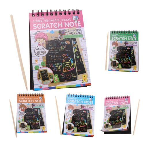 Colourful Rainbow Scratch Drawing Notepad Sketchbook for Entertainment 5 PCS